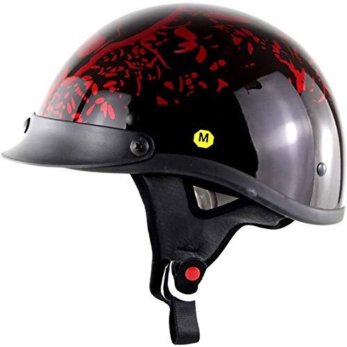 ZHXH Casco de moto Harley, casco de colisión transpirable desmontable Four Seasons para hombres y mujeres adultos, de acuerdo con los estándares de puntos,