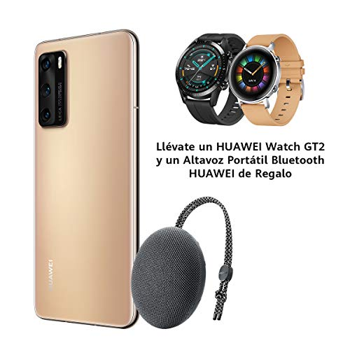 "Huawei P40 5G - Smartphone de 6,1"" OLED (8GB RAM + 128GB ROM, Triple Cámara Leica de 50MP (50+16+8MP) con visión nocturna, chip Kirin 990 5G, 3800 mAh, carga rápida, EMUI 10 HMS) Oro + altavoz CM51"