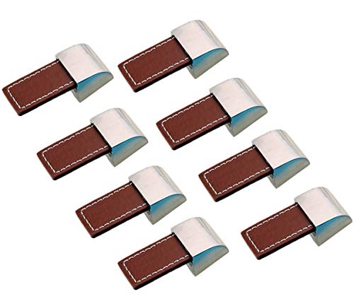 AngYou 8Pcs Leather Drawer Handle,Furniture Hardware Pulls Cabinet Drawer Handle, Chest of Drawers, Wardrobe Dresser Door Cabinet Handle, Double Holes with Screws Pull Knobs