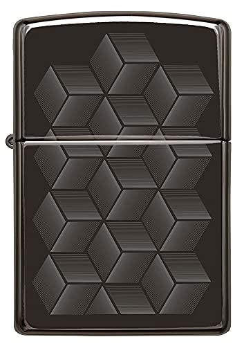 ZIPPO - Geometric Box Design, Laser Fancy Fill - High Polish Black - Mechero, rellenable, en una Caja de Regalo