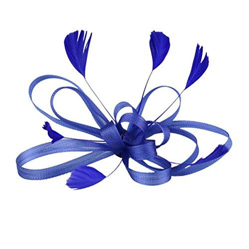 Frcolor Clip de Pelo Pluma Fascinator Boda Nupcial Pelo Accesorio (Azul Marino)