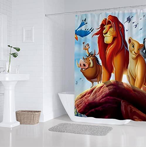 Duschvorhang 180x200cm Cartoon Anime König der Löwen Duschvorhänge Anti-Schimmel Wasserdicht Polyester Stoff Waschbar Bad Vorhang für Badzimmer mit 12 Duschvorhangringen