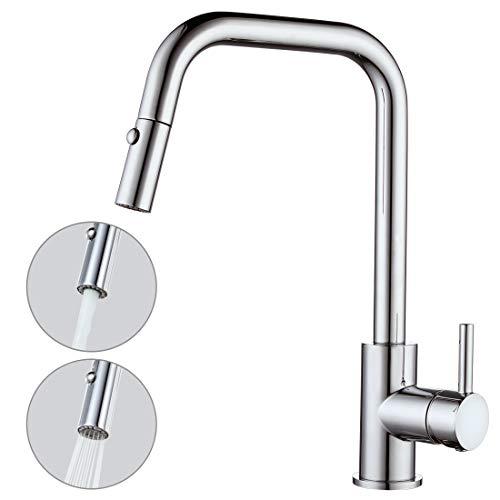 ARCORA Küche Wasserhahn Ausziehbar Küchenarmatur mit Brause 360° Drehbar Mischbatterie Edelstahl Spültischarmatur für Spüle Einhebelmischer mit 2 Strahlarten