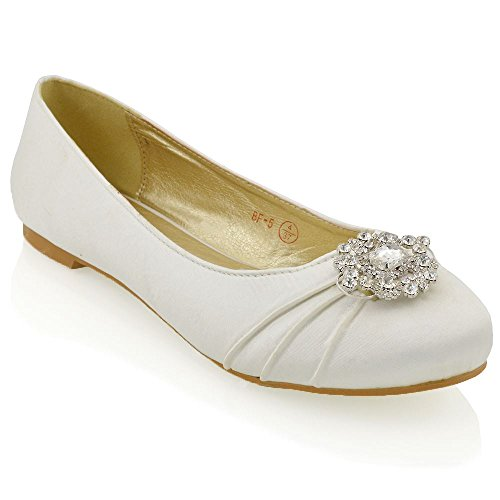 Womens Bridal Satin Pumps Ladies Diamante Brooch Slip ON Flat Ballerina Shoes