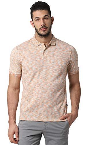 Peter England Men's Solid Regular fit T-Shirt (PCKPCRGB423925_Peach L)