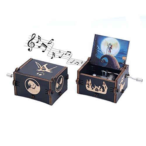 Keast Boîte à musique à manivelle vintage en bois L'Étrange Noël de Monsieur Jack - Mélodie «Merry Christmas»
