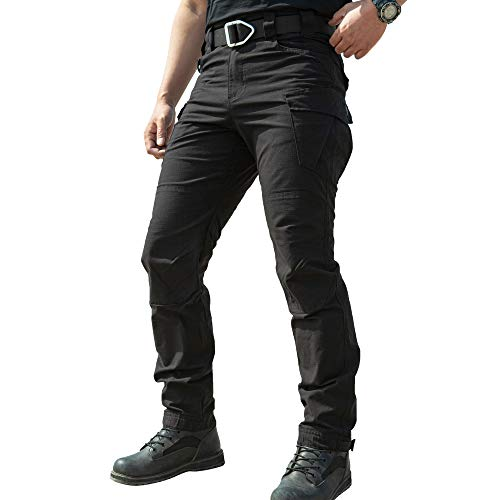 TIANNBU Herren Outdoor Hose Ripstop Tactical Pants Arbeitshose Baumwolle Cargohose,Schwarz L