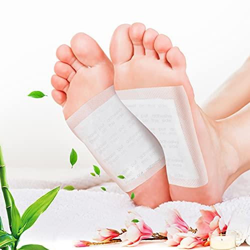 Detox Pflaster Fuß,CAMTOA 100 Stück Bambuskohle-Entgiftungs-Fußpflaster Lindert Müdigkeit, Verbessert Die Schlafqualität, Fördert Die Durchblutung Des Körpers und Entgiftet Die Fußpflege