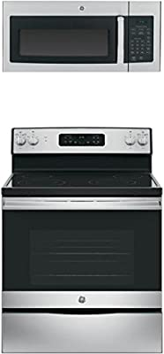 """GE 2-Piece Kitchen Package with JB645RKSS 30"""" Freestanding Electric Range, and JVM3160RFSS 30"""" Over the Range Microwave Oven in Stainless Steel"""