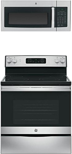 "GE 2-Piece Kitchen Package with JB645RKSS 30"" Freestanding Electric Range, and JVM3160RFSS 30"" Over the Range Microwave Oven in Stainless Steel"