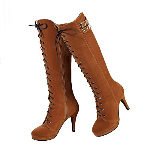 getmorebeauty Womens Suede Buckle Rock Lace Up Zipped Knee High Boots High Heel Boots (Brown, 9.5)