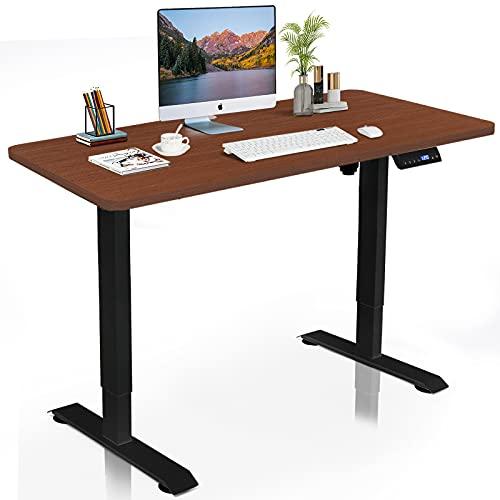DCHOUSE Escritorio regulable en altura eléctricamente con protección contra colisiones, función de memoria, tablero de madera maciza de 120x60cm (Marrón, Estructura Negra)