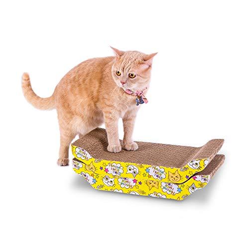 PETTOM 2PCS Rascador de cartón para Gatos Rascador de Gato para Cama y sofá Incluido Hierba Gatera Disponible en Ambos Lados Guarda Tus Muebles