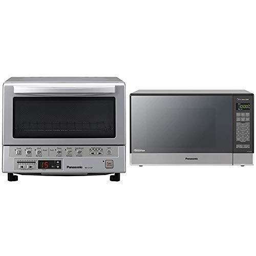 Panasonic FlashXpress Compact Toaster Oven - 4 Slice & Microwave Oven NN-SN686S Stainless Steel Countertop/Built-In with Inverter Technology and Genius Sensor, 1.2 Cubic Foot, 1200W