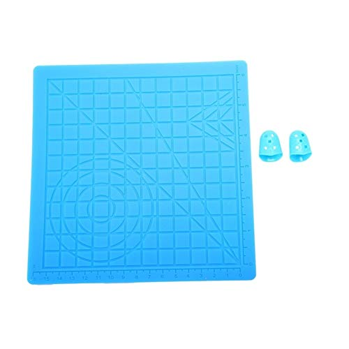 YIBANG-DIANZI 3D Pen Mat Silicone Design Mat Kit With 2 Silicone Finger Caps, 3D Printing Pen Mat With Basic Template, Drawing Tools 3D Pen (Color : Blue)