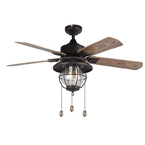 Silent plafondventilator, retro industriële kroonluchter, voor restaurant/woonkamer/slaapkamer. Maak ijzeren kooi rustieke stijl.
