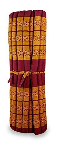 livasia Kapok Liegematte der Marke Asia Wohnstudio, 200cm x 110cm x 4,5cm; Rollmatte BZW. Yogamatte, Thaimatte, Thaikissen als asiatische Rollmatratze (rot/gelb)