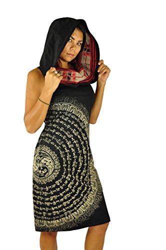 virblatt – Schwarzes Hippie Kleid Ethno Kleid perfekt als Hippie Kleidung Hippie Mode und Alternative Kleidung -Atemberaubend XSM