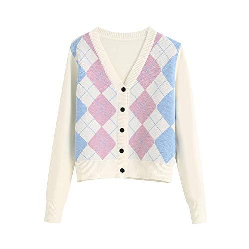 Moda Sudaderas Jersey Sweater Cárdigan De Mujer Vintage Elegante Patrón Geométrico Suéter De Punto Corto Moda Manga Larga Estilo De Inglaterra Prendas De Vestir Exteriores L 5
