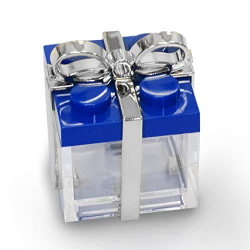 Omada Design DECORO (SOLO GANCI) per scatolina tipo mattoncino in plastica (24 PEZZI) trasparente formato 5 X 5 X 5 cm, per bomboniere o palline Natale.
