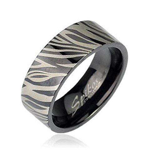 Tapsi´s Coolbodyart® Dome Ring Edelstahl 6mm Breit Zebra Geätzt Schwarz Silber 53(17)