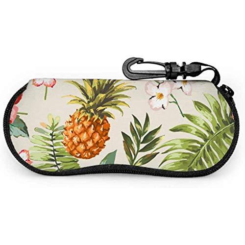 lymknumb Vintage Tropical Seamless Flowers Piña Vector Ladies Sunglass Case Chica Gafas de sol CaseCase Slim Glasses Case