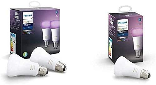 Philips Hue Pack de 2 Ampoules LED Connectées White & Color Ambiance E27 Compatible Bluetooth, Fonctionne avec Alexa + Pack de 1 Ampoule E27