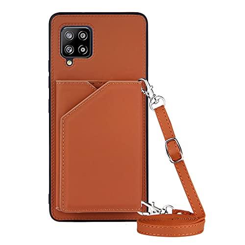 Funda para Samsung Galaxy A42 5G con Cuerda, Carcasa Cuero Premium PU Suave Case con Correa Colgante Ajustable Collar Correa de Cuello Cadena Cordón Ranuras para Tarjetas Anti-Choque Cover, Marrón