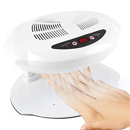Secador de uñas, Ventilador de secado de manicura con aire frío y caliente, Herramienta de manicura para salón y hogar(White)