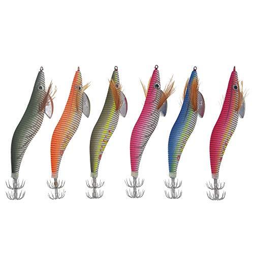 Xersex 6 Piezas Luminoso Pesca Camarones Señuelo Cebo de Calamar para Sepia Pulpo Cebo Que Brillan en la Oscuridad Tackle (3.14inch)