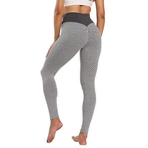 Sfit Leggins Mujer Push Up Mallas de Deporte de Mujer Cintura Alta Malla Celular Pantalón de Elásticos Butt Lifter Anti-Cellulite Deportivos Leggings para Yoga Pilates