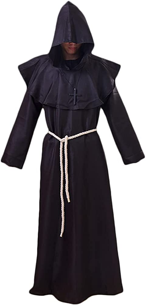 Medieval Hooded Limited price sale All stores are sold Monk Robe Scary Cosplay Friar Costume Halloween