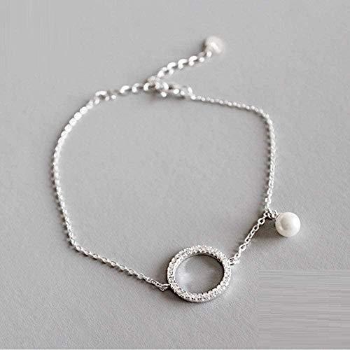 NC83 Pulsera de plata, joyería, forma redonda hueca, pulseras con dijes de perlas blancas para mujeres, regalos de cumpleaños agradables