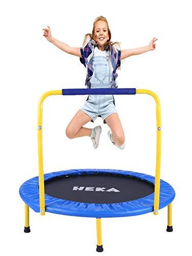 HEKA Trampolin Kinder Kindertrampolin, Fitness Trampolin 92 cm für Drinnen,Klappbar Trampolin Indoor Outdoor,Fitness Trampolin mit Griff und Schutzhülle,mit Haltegriff Belastung Bis 75kg