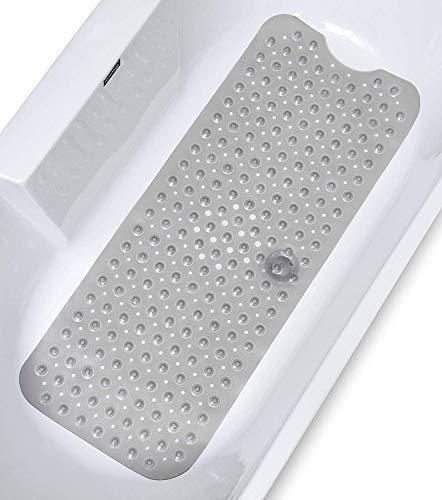Gelrova 浴槽 滑り止めマット 風呂マット 転倒防止 介護用品 吸盤付き 匂いなし 防カビ 丸洗いOK 40x100cm(透明 グレー)