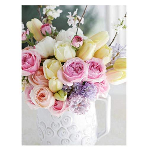 DIY 5D Kit de pintura Flowers Rose-2 Kit de pintura 5D de diamantes por número Salón decoración pegatinas de pared en (20X16inch/50X40CM)