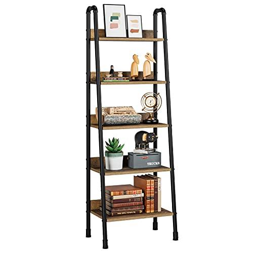 HIFORT Standregal, 5 Ebenen Leiterregal, Industrial Bücherregal für Arbeitszimmer, Wohnzimmer, Küche,aus Metall Holz, Vintage Schwarz 56 x 38,5 x 170cm (L x W x H)