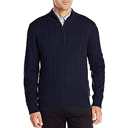 IZOD Men's Premium Essentials Cable Knit 1/4 Zip Sweater (Navy, Small)