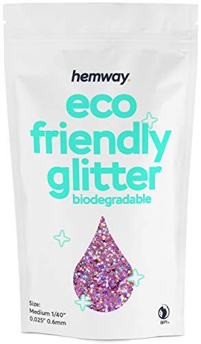 """Hemway Eco-Friendly Biologisch abbaubarer Glitter - Chunky 1/40""""0.025"""" (0.6mm) - Unze Bio-Kosmetik sicher - 100g- Holografisches Pink"""