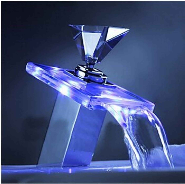 Maifeini Creative Diamond Griff Farbe ndern Basierte Wasserhahn Wasserfall Becken Mischbatterien Kühlkrper Kühlkrper Tippen Sie Auf Tippen Sie Auf Tippen Sie Auf Toilette, Verchromt