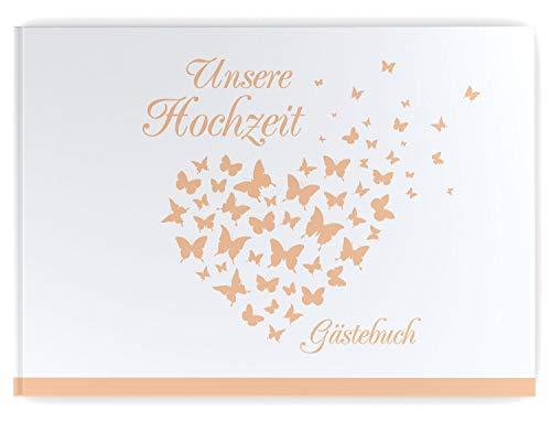 DeinWeddingshop Gästebuch Hochzeit Schmetterling - Hardcover, mit Fragen, A4 Quer, Butterfly Heart...