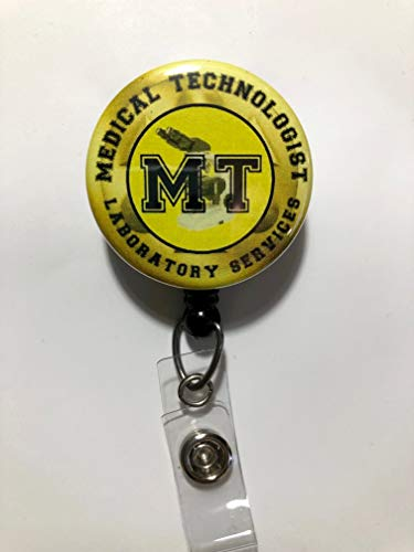 TexasBadgeShop MT Medical Technologist Yellow and Black with Microscope - Retractable ID Badge Reel (Alligator Swivel Clip)