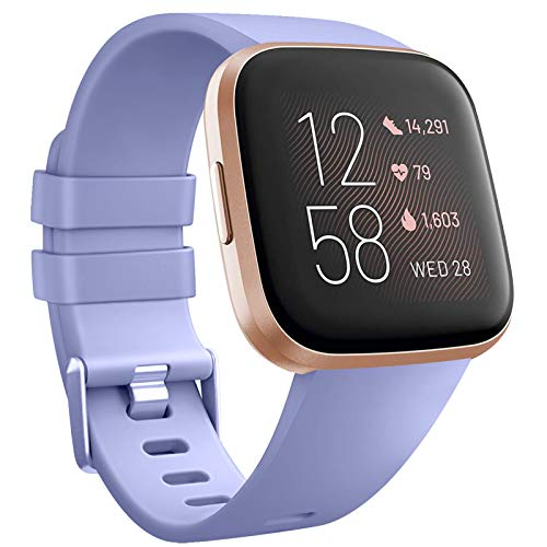 Tobfit Compatible Bands Replacement for Fitbit Versa, Silicone Wristbands Versa Accessories for Women and Men (Lavender, Small)