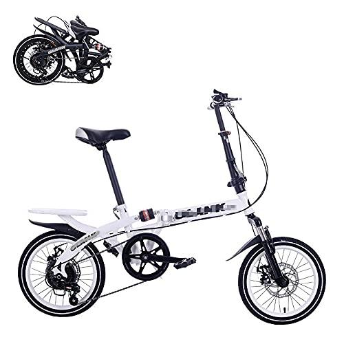 Bicicleta Plegable para Adultos De 16 Pulgadas, 6 Velocidades, Que Ahorran Mano De Obra, Amortiguan Los Golpes, Frenos De Disco Dobles Delanteros Y Traseros, Bicicleta De Cercanías Portátil Plegable
