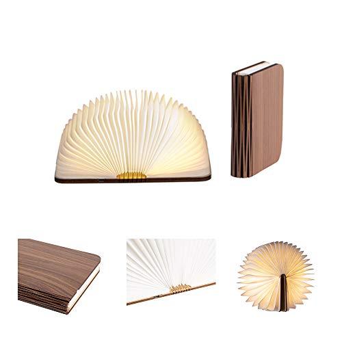 LEDR® - Buchlampe Book Lamp LED Buch Lampe Nachttischlampe Nachtlicht dekoratives Licht - USB Kabel enthalten - Wasserdicht - 100% DuPont™ Tyvek® Recyclingpapier (Walnussbraun: 12 x 9 cm)