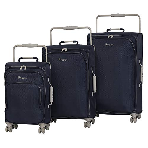 it luggage World's Lightest New York Softside 8 Wheel Spinner, Magnet With Cobblestone Trim, 3-Piece Set (22/28/32)