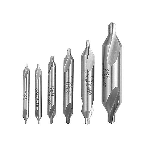 DingGreat 6Pcs HSS Center Drill Bits Set, 1/1.5/2/2.5/3/5mm 60 Degree Lathe Mill Combined Centre Drill Countersink Bit Suitable for Positioning and Chamfering Processing
