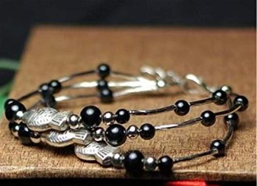 Shability Beautiful Three-row Cute Three Tibetan Silver Fishes Glossy Black Stone Beads Original Quality Graceful Anklets Ethnic Jewelry yangain