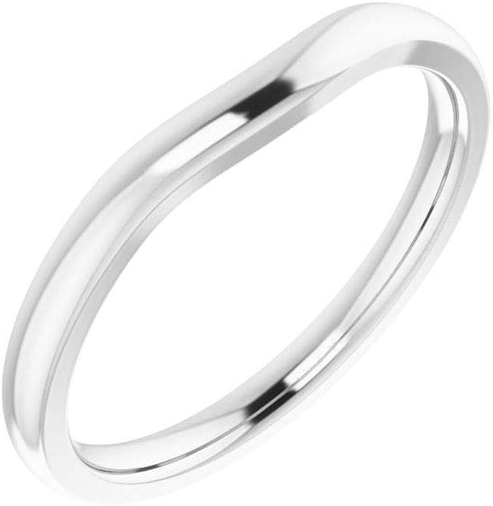Solid Platinum Matching Curved Notched Band Sales for sale Regular store Wedding Em 7x5mm