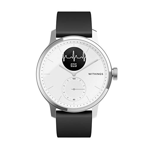 Withings Scanwatch 42 mm Bianco, Hybrid Smart Watch with ECG, Heart Rate Sensor And Oximeter, SpO2, Sleep Tracking Unisex-Adult